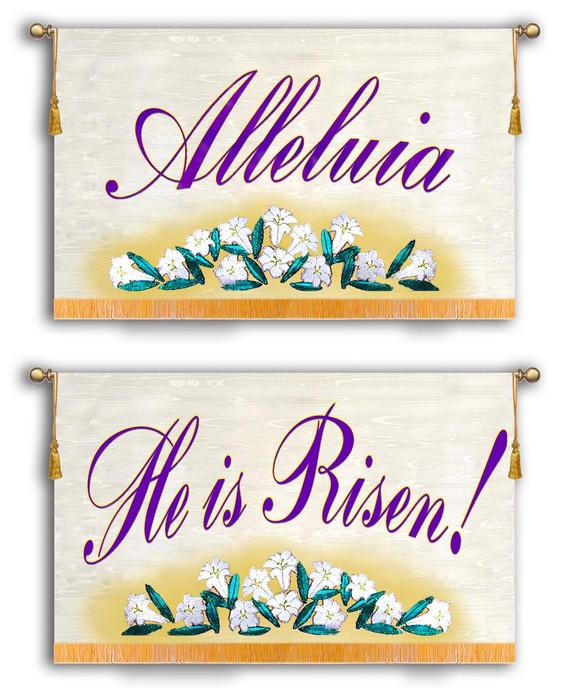 Alleluia - He is Risen Horizontal - 2 Banner SET
