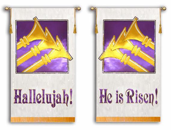 Hallelujah - He is Risen with Trumpets - 2 Banner Set