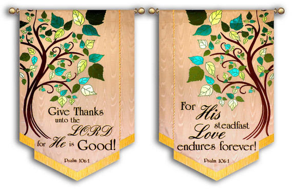Set of 2 with side panels - Give Thanks unto the Lord - Psalm 106:1