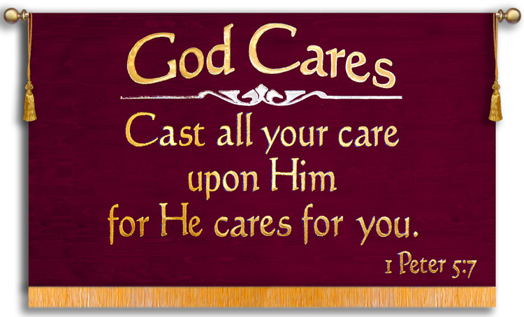 God cares for you Church banner for casting cares