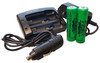 Wicked Lights 2-Position Charger with AC/DC  Charge Adaptors and 2-Pack Lithium Ion Rechargeable Batteries