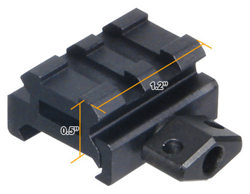 """UTG Low-Profile Super Compact Riser Mount, 0.5"""" High, 2 Slots MNT-RS05S2"""
