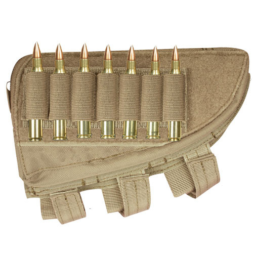 Rifle Butt Stock Cheek Rest with Storage Pouch and Cartridge Loops Coyote 55-488