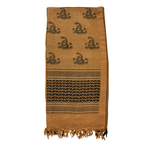 "actical Woven Shemagh Scarf ""Don't Tread On Me"" Coyote / Black 70-25"