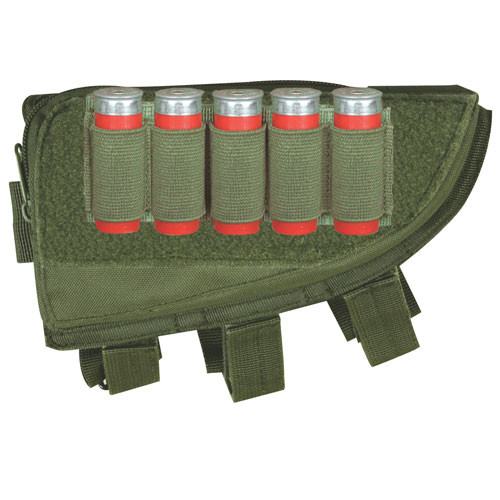 Shotgun Butt Stock Cheek Rest with Storage Pouch and Shell Loops Olive Drab 55-580