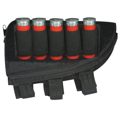 Shotgun Butt Stock Cheek Rest with Storage Pouch and Shell Loops Black