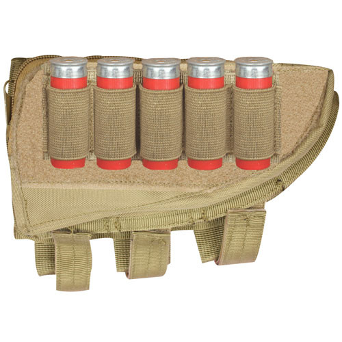 Shotgun Butt Stock Cheek Rest with Storage Pouch and Shell Loops Coyote 55-588