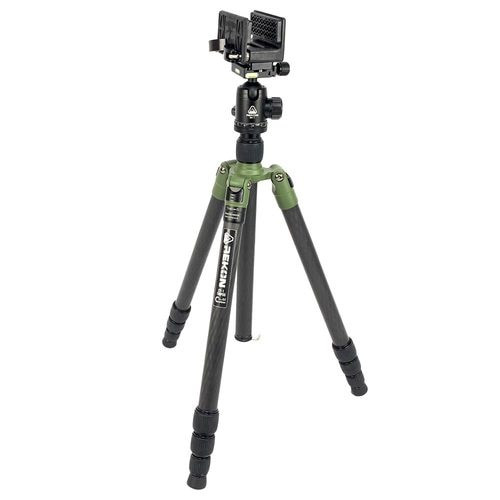 REKON CT-1 Carbon Fiber Tripod with BH-1 Ball Head, RTA1 Picatinny to Arca-Swiss Mount, and TRICLAWPS DOUBLE CAM Mount