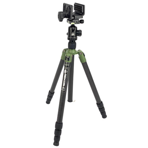 REKON CT-1 Carbon Fiber Tripod with BH-1 Ball Head, RTA1 Picatinny to Arca-Swiss Mount, and TRICLAWPS SOLO Saddle Mount