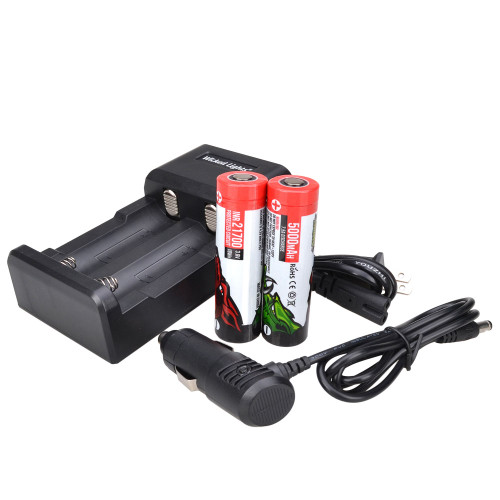 Wicked Lights® 2-Position Charger and 2 Pack Lithium Ion 21700 5000 mAh Rechargeable Batteries