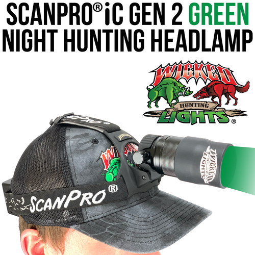 Wicked Lights ScanPro® iC GEN 2 GREEN LED Night Hunting Headlamp Kit