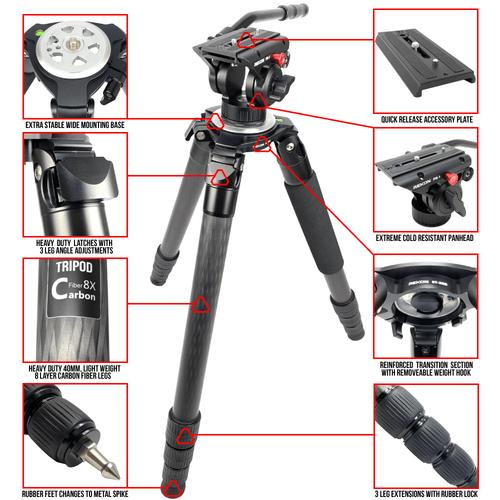 REKON Outdoor Gear™ Optics Optimized CT-3HD Carbon Fiber Ambush™ Tripod with PH-1 Panhead R025