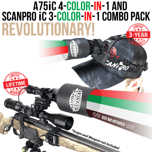 Wicked Lights® A75iC 4-Color-In-1 & ScanPro iC 3-Color-In-1 Night Hunting Light Combo Kit for Coyote, Hog, Predator