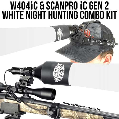 Wicked Lights® W404iC & ScanPro® iC GEN2 Headlamp WHITE LED Night Hunting Light Kit For Coyote, Hog, Predator