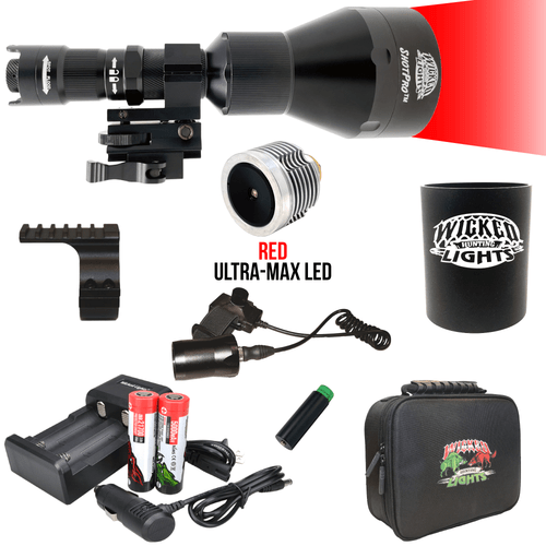 Wicked Lights® Shot-Pro™ Extreme Range RED ULTRA-MAX LED Night Hunting Kit
