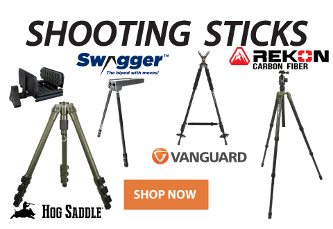 Click to see our selection of Shooting Sticks, Tripods, and Rests!