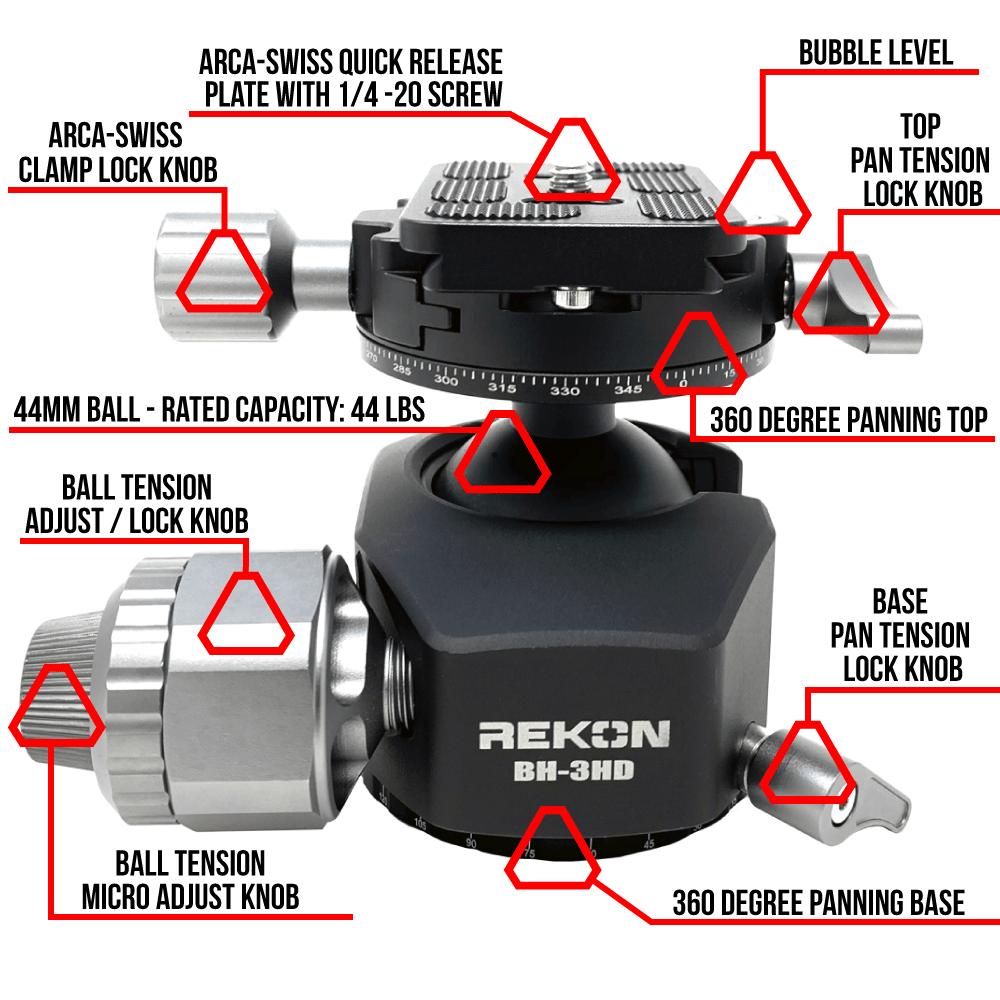 REKON BH-3HD Ball Head Features