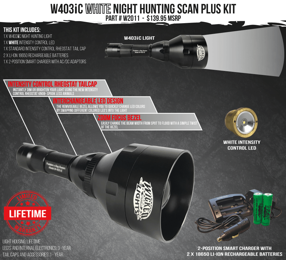 Wicked Lights W403iC White Scan Plus Night Hunting Light Kit