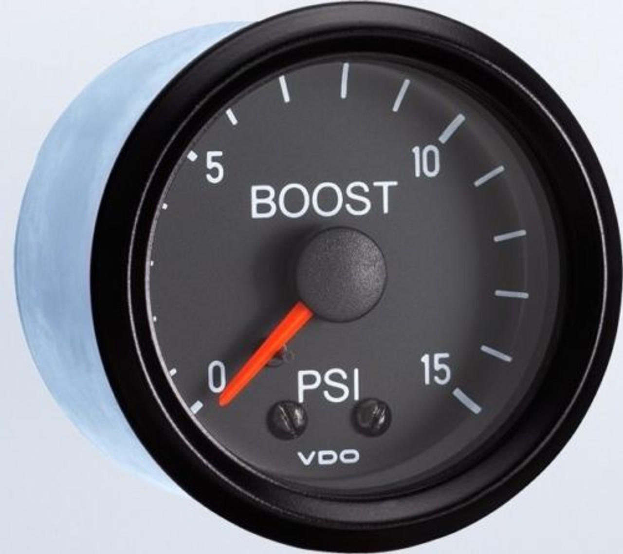 """VDO Vision Part # 150-051 Turbo Boost, 0-15 PSI, Mechanical, 1/8-27 Thread Connection, 52mm (2 1/16"""") Diameter. Traditional Halo Lighting w/ Bright Red Pointer, 12 Volt Lighted. Requires Accessory Line Kit."""