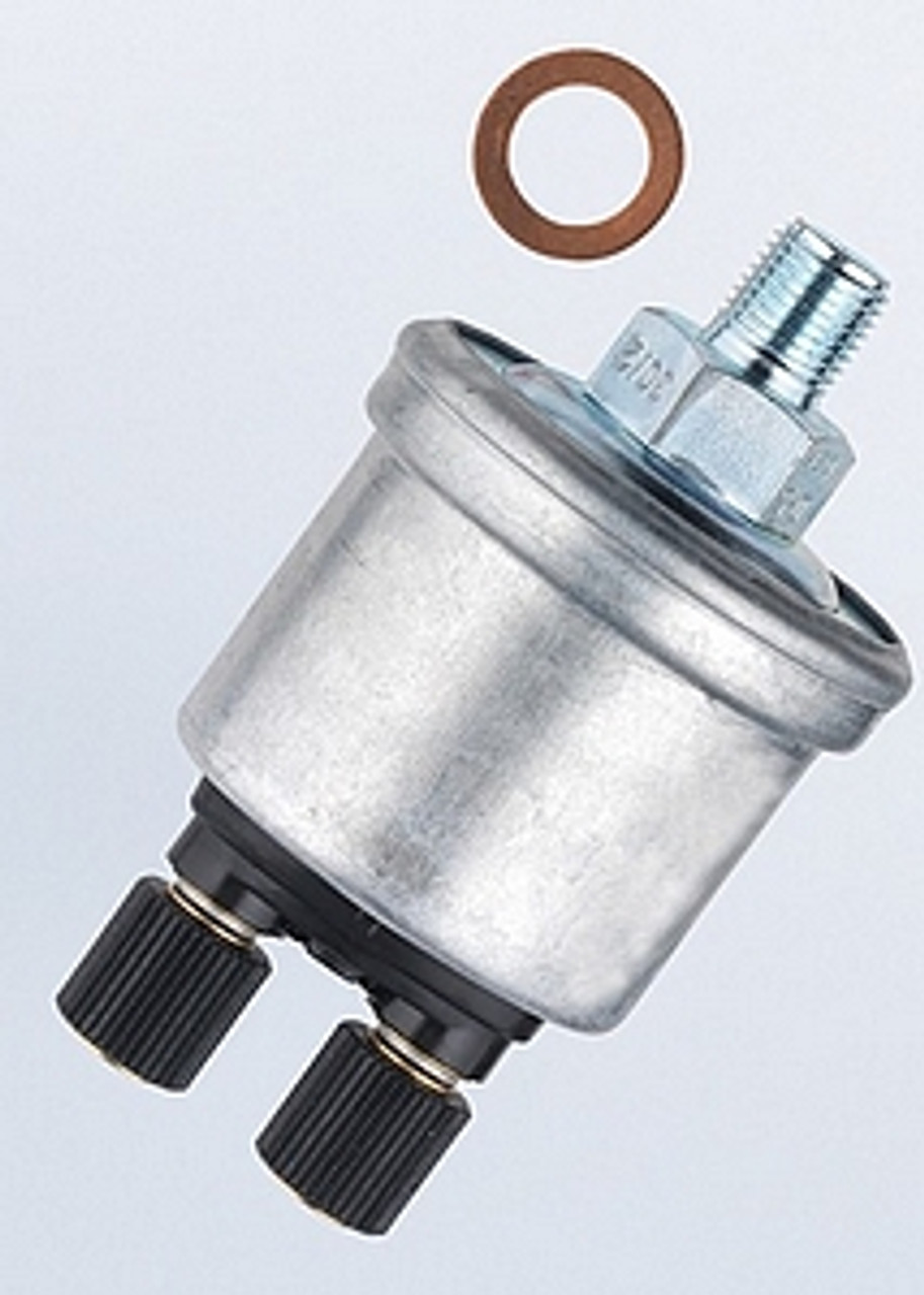 VDO Pressure Sender, Part #360-006 - 0-80 PSI/5 Bar, M10 x 1 Thread, 10 - 180 Ohms, Standard Ground.  Has 7PSI Warning Contact for Low Pressure Warning Light.