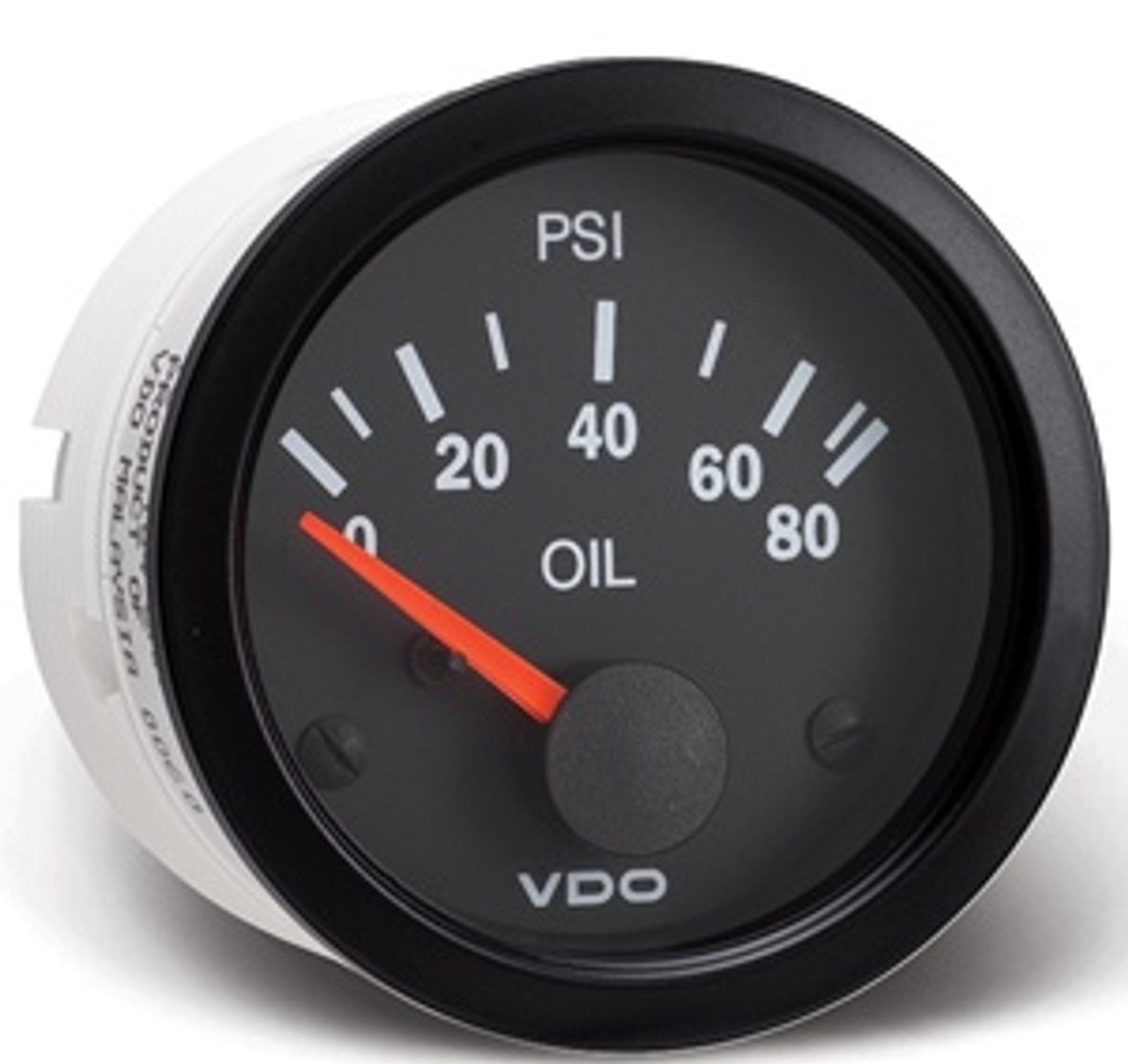 "VDO Vision Part #350-104 Oil Pressure, 0-80psi. 52mm (2 1/16"") Diameter. Thru-dial Lighting w/ Lighted Pointer. 12 Volt. Requires VDO 10-180 Ohm Sender."