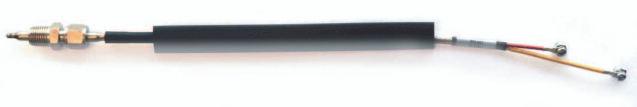 """Hewitt Industries Thermocouple, Part #015-003, 1/4"""" Diameter Straight Shaft, K-Type Wire, Stainless Steel 1/4""""NPT Thread Adapter Compression Fitting, For 20mm Exhaust Port. Includes Heat Shrink Protection Sleeve.  Color-coded #18 gauge wires, red (-) and yellow wire (+).Terminated with High-Temp #6 round terminal lugs, Adjustable probe tip depth allowing probe tip to read in hottest center stream area of exhaust port.  Commonly used to monitor exhaust temperatures on internal combustion engines. May be used on Automobiles, Trucks, Buses, Marine, Motor Homes, Aircraft, Performance Vehicles, Off-Road Vehicles, Recreational Vehicles, Industrial."""