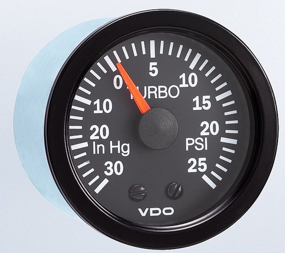 "VDO Vision Part # 150-121 Turbo Boost, 15 PSI, Mechanical, 1/8-27 Thread Connection, 52mm (2 1/16"") Diameter. Thru-dial Lighting w/ Lighted Pointer, 12 Volt Bulb. Requires Accessory Line Kit."