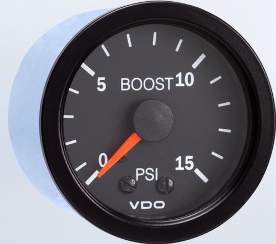 "VDO Vision Part # 150-101 Turbo Boost, 0-15 PSI, Mechanical, 1/8-27 Thread Connection, 52mm (2 1/16"") Diameter. Thru-dial Lighting w/ Lighted Pointer, 12 Volt Lighted. Requires Accessory Line Kit."