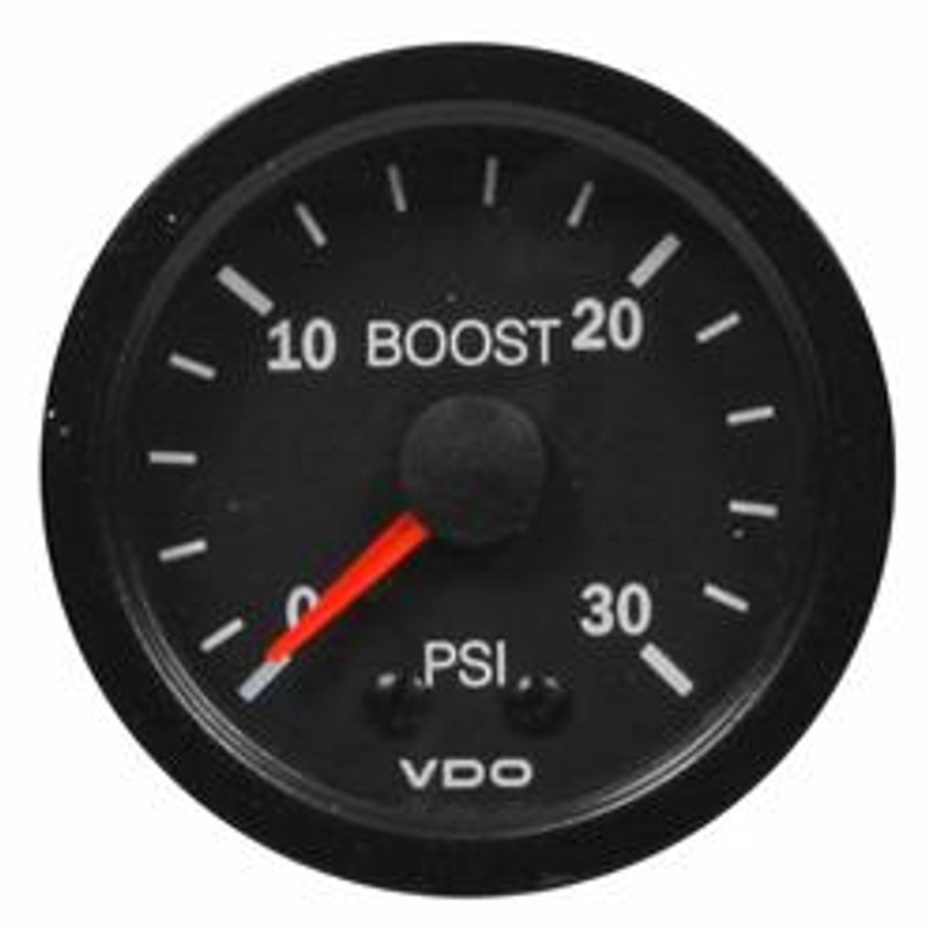 "VDO Vision Part # 150-104 Turbo Boost, 0-30 PSI, Mechanical, 1/8-27 Thread Connection, 52mm (2 1/16"") Diameter. Thru-dial Lighting w/ Lighted Pointer, 12 Volt Lighted. Requires Accessory Line Kit."