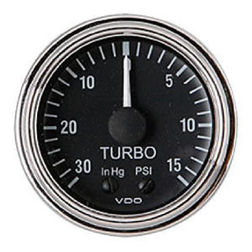 "VDO Series One Part # 150-361 Turbo Boost, 0-15 PSI/ 30 HG, Mechanical, 1/8-27 Thread Connection, 52mm (2 1/16"") Diameter. Traditional Halo Lighting w/ White Pointer, 12 Volt Lighted. Requires Accessory Line Kit."