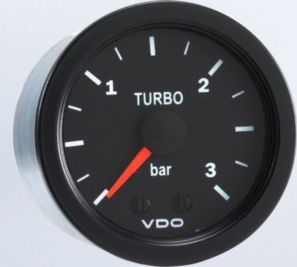 "VDO Vision Part # 150-102 Turbo Boost, 0-3 Bar, Mechanical, 1/8-27 Thread Connection, 52mm (2 1/16"") Diameter. Thru-dial Lighting w/ Lighted Pointer, 12 Volt Lighted. Requires Accessory Line Kit."