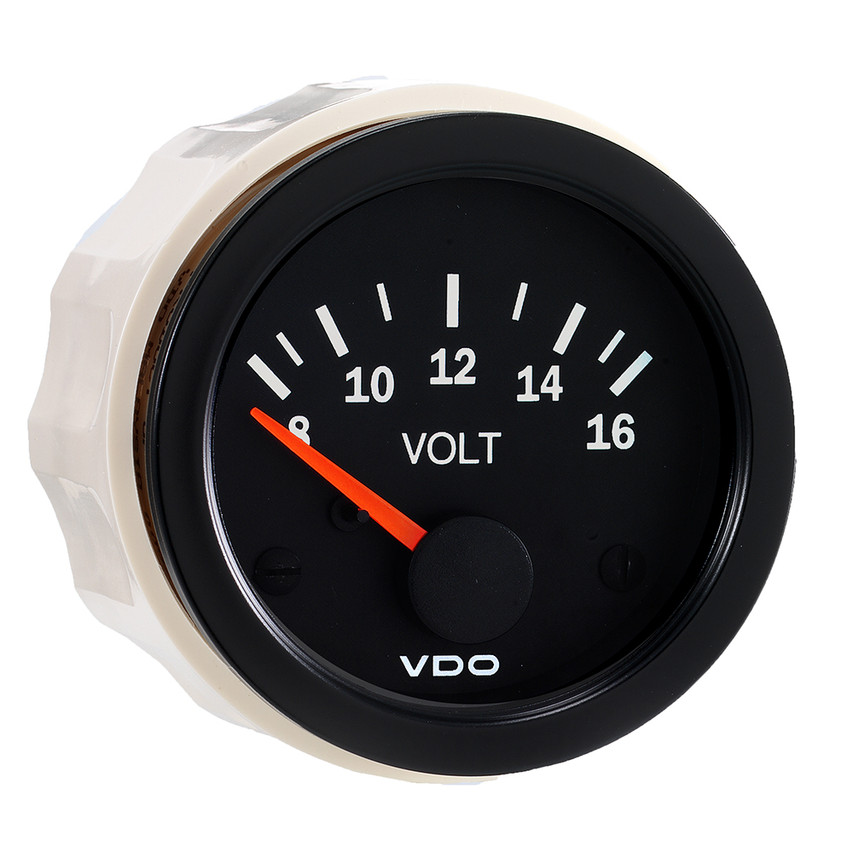 "VDO Vision Part # 332-103 Voltmeter, 8-16 Volt, 52mm (2 1/16"") Diameter. Thru-dial Lighting w/ Lighted Pointer, 12 Volt Lighted."