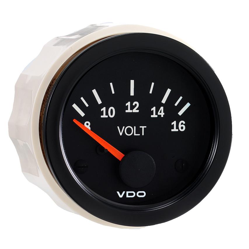 "VDO Vision Part # 332-103 Voltmeter, 8-16 Volt, 52mm (2 1/16"") Diameter. Thru-dial Lighting w/ Lighted Pointer, 12 Volt Lighted."