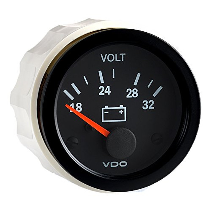"VDO Vision Part # 332-104 Voltmeter, 18-32 Volt, 52mm (2 1/16"") Diameter. Thru-dial Lighting w/ Lighted Pointer, 24 Volt Lighted. .250"" Male Spade Connectors or VDO 3-Prong Connector for a Clean Install. For 24 Volt Systems."