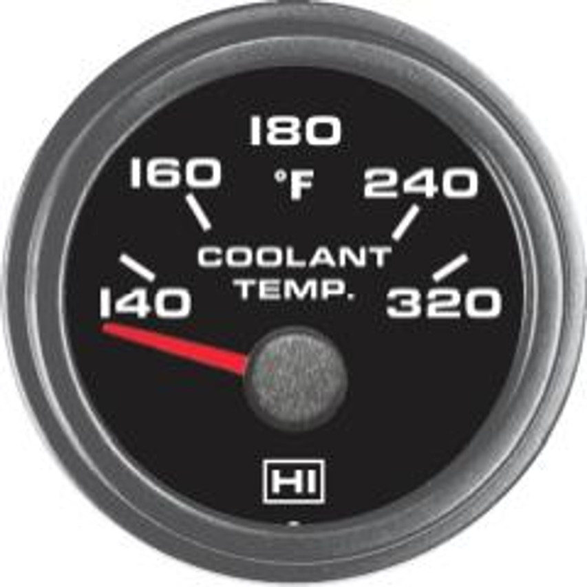 Hewitt Part #011-102-1R-1 Coolant Temperature 140-320 Degrees Fahrenheit, Two Inch (50mm) Diameter, White LED Lighted, Red Lighted Pointer. Hewitt Provides Many Style Variations, Contact Us for Your Requirements.  Commonly used to monitor lubricant temperatures on internal combustion engines. May be used on Automobiles, Trucks, Buses, Marine, Motor homes, Aircraft, Performance Vehicles, Off-Road Vehicles, Recreational Vehicles, Industrial & Construction Equipment.