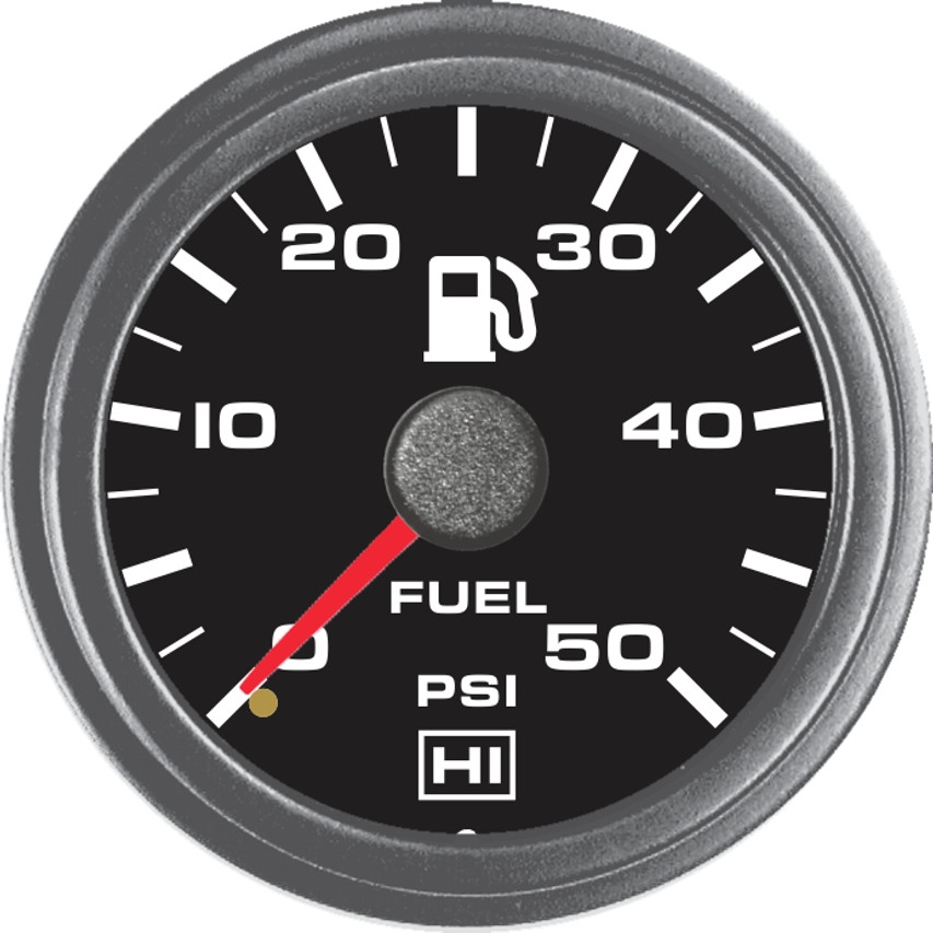 Hewitt Part #100-102-1R-1, Reads 0-50psi, Two Inch (50mm) Diameter, White LED Lighted, Red Lighted Pointer. Includes 8ft. Line Kit. Hewitt Provides Many Style Variations, Contact Us for Your Requirements.  Commonly used to monitor fuel pressure on internal combustion engines. May be used on Automobiles, Trucks, Buses, Marine, Motor homes, Aircraft, Performance Vehicles, Off-Road Vehicles, Recreational Vehicles, Industrial & Construction Equipment.