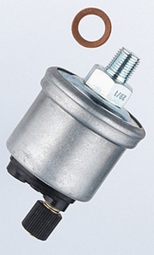 VDO Pressure Sender, Part #360-001 - 0-80 PSI/5 Bar, M10 x 1 Thread, 10 - 180 Ohms, Standard Ground. No Warning Light.  PLEASE NOTE: Threads on Sender Are Self-Sealing, Use of Sealing Compounds Will Effect Sender Operation!
