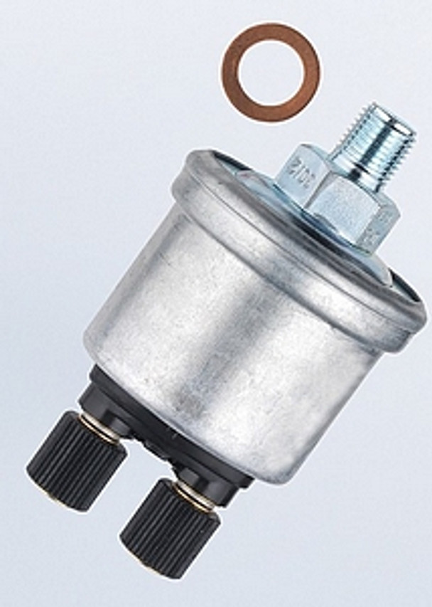 VDO Pressure Sender, Part #360-007 - 0-80 PSI/5 Bar, M12 x 1.5 Thread, 10 - 180 Ohms, Standard Ground. Has 8.5 PSI Warning Contact for Low Pressure Warning Light.