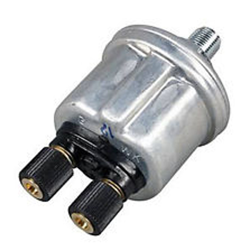 VDO Pressure Sender, Part #360-009 - 0-80 PSI/5 Bar, 1/4-18NPT Thread, 10 - 180 Ohms, Standard Ground.  Has 7 PSI Warning Contact for Low Pressure Warning Light.  PLEASE NOTE: Threads on Sender Are Self-Sealing, Use of Sealing Compounds Will Effect Sender Operation.          Can't Find What You are looking for... Contact our Technical Support Staff!