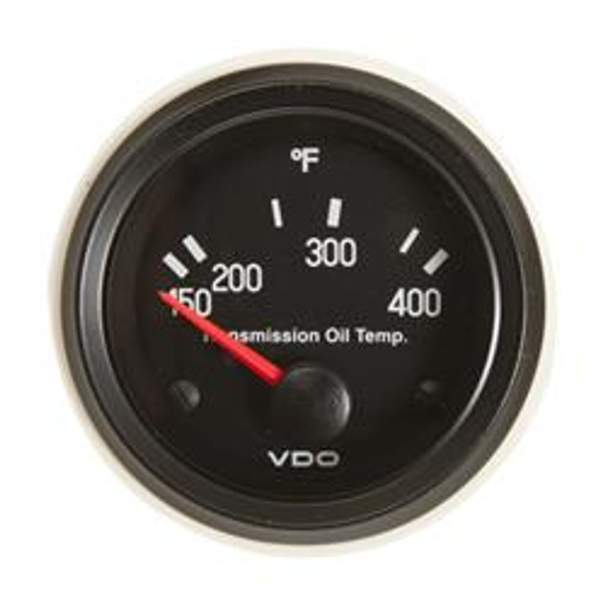"VDO Cockpit Series Part #310-015 Transmission Temperature, 150 - 400 Degrees F. 52mm (2 1/16"") Diameter, Halo Lighted. 12 Volt. Requires VDO 10-180 Ohm 400 Degree Sender.  List $58.40    PLEASE NOTE: Threads on Sender Are Self-Sealing, Use of Sealing Compounds Will Effect Sender Operation.          Can't Find What You are looking for... Contact our Technical Support Staff!"