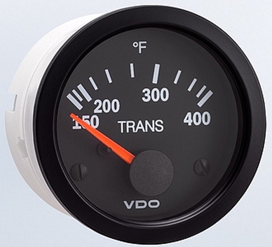 "VDO Vision Series Part #310-107 Transmission Temperature, 150 - 400 Degrees F. 52mm (2 1/16"") Diameter, Thru-Dial & Pointer Lighted. 12 Volt. Requires VDO 10-180 Ohm 400 Degree Sender.  List $58.40    PLEASE NOTE: Threads on Sender Are Self-Sealing, Use of Sealing Compounds Will Effect Sender Operation.          Can't Find What You are looking for... Contact our Technical Support Staff!"