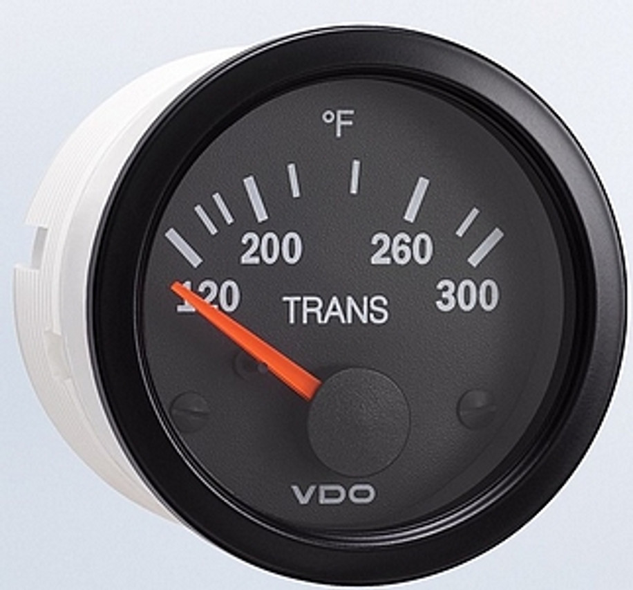 "VDO Vision Series Part #310-111 Transmission Temperature, 120 - 300 Degrees F. 52mm (2 1/16"") Diameter, Thru-Dial & Pointer Lighted. 12 Volt. Requires VDO 10-180 Ohm 400 Degree Sender.  List $58.40    PLEASE NOTE: Threads on Sender Are Self-Sealing, Use of Sealing Compounds Will Effect Sender Operation.    Into a Professional Installation? Use our 3-Terminal Connector Accessory for a Clean, Easy Installation.       Can't Find What You are looking for... Contact our Technical Support Staff!"