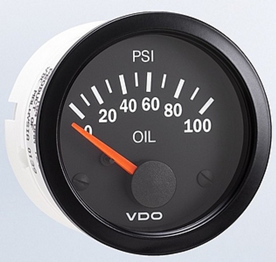 """VDO Vision Part #350-106 Oil Pressure, 0-100psi. 52mm (2 1/16"""") Diameter. Thru-dial Lighting w/ Lighted Pointer. 12 Volt. Requires VDO 10-180 Ohm Sender.      Can't Find What You are looking for... Contact our Technical Support Staff!"""