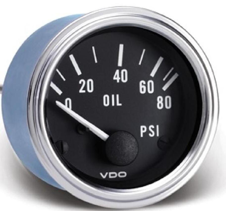 "VDO Series 1 Classic Chrome Bezel, Part #350-303 Oil Pressure, 0-80psi. 52mm (2 1/16"") Diameter. Halo Lighted w/ White Pointer. 12 Volt. Requires VDO 10-180 Ohm Sender      Can't Find What You are looking for... Contact our Technical Support Staff!"