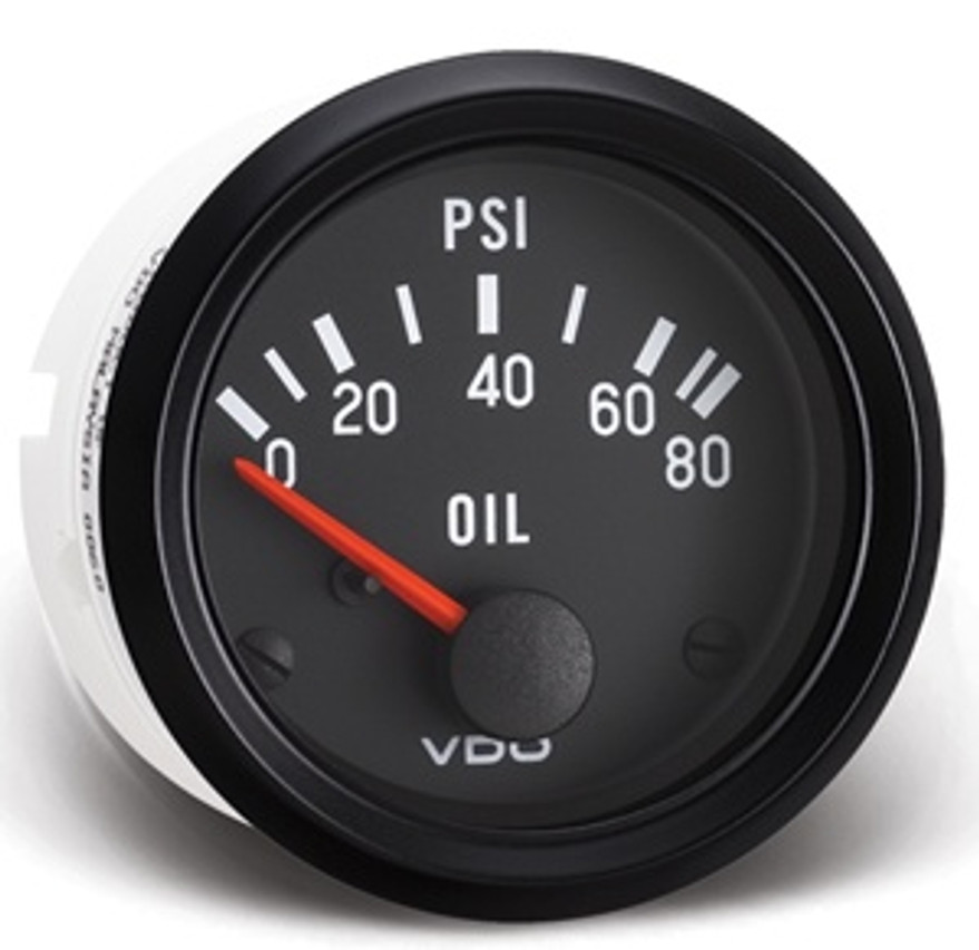 """VDO Cockpit Series, Part #350-040 Oil Pressure, 0-80psi. 52mm (2 1/16"""") Diameter. Halo Lighted w/ Red Pointer. 12 Volt. Requires VDO 10-180 Ohm Sender.      Can't Find What You are looking for... Contact our Technical Support Staff!"""