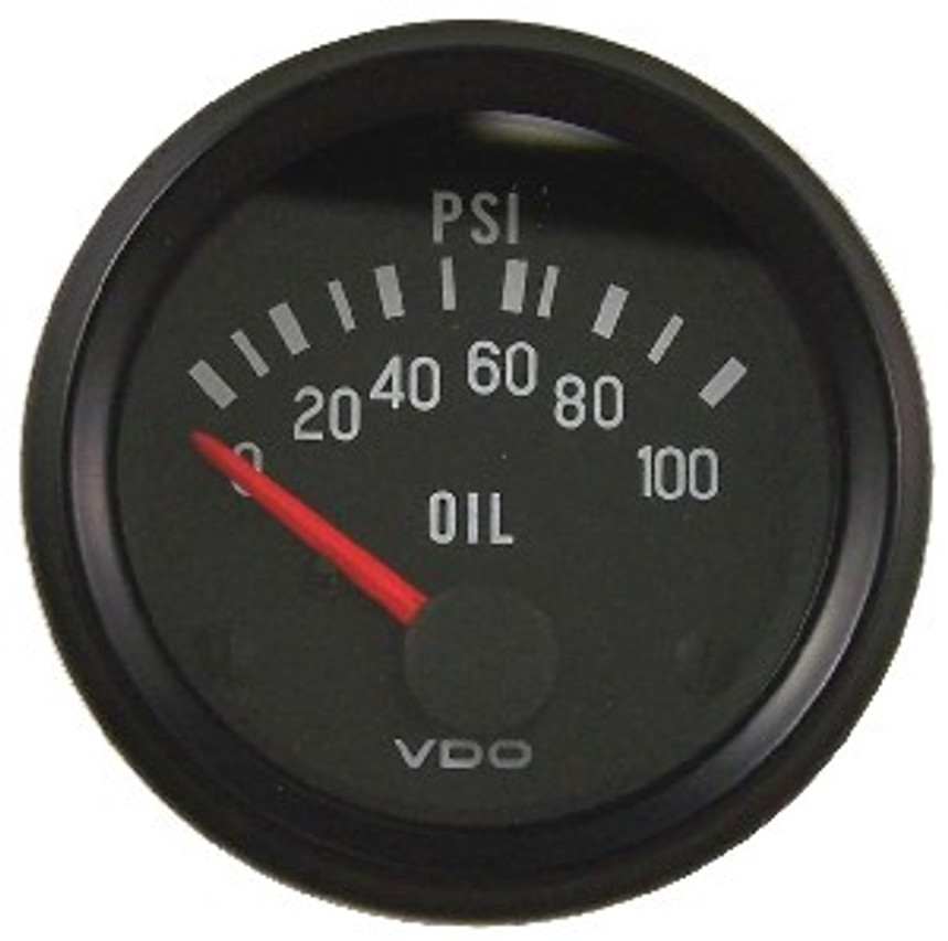"""VDO Cockpit Series, Part #350-065 Oil Pressure, 0-100psi. 52mm (2 1/16"""") Diameter. Halo Lighted w/ Red Pointer. 12 Volt. Requires VDO 10-180 Ohm Sender.      Can't Find What You are looking for... Contact our Technical Support Staff!"""