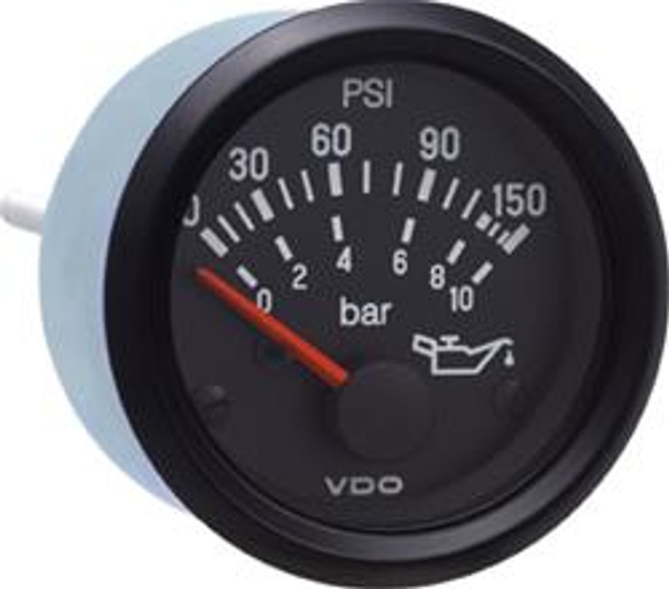 """VDO Cockpit International Series, Part #350-909 Oil Pressure, 0-150psi/ 10 bar. 52mm (2 1/16"""") Diameter. Halo Lighted w/ Red Pointer. 12 Volt. Requires VDO 10-180 Ohm Sender.      Can't Find What You are looking for... Contact our Technical Support Staff!"""