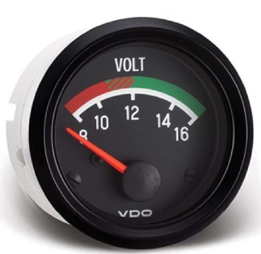 """VDO Cockpit Series Part # 332-041 Voltmeter, 8 - 16 Volt, 52mm (2 1/16"""") Diameter. Halo Lighting w/ Red Pointer, 12 Volt Lighted. .250"""" Male Spade Connectors or VDO 3-Prong Connector for a Clean Install. For 12 Volt Systems. List $46.27 Can't Find What You are looking for... Contact our Technical Support Staff!"""