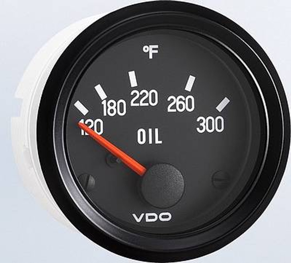 "VDO Cockpit Series, Part #350-040 Oil Pressure, 0-80psi. 52mm (2 1/16"") Diameter. Halo Lighted w/ Red Pointer. 12 Volt. Requires VDO 10-180 Ohm Sender. List $47.22 Don't Forget Your Sender! INSTALL NOTE: Sender Threads are Self-Sealing. Use of Sealing Compounds Will Affect Sender Output.     Can't Find What You are looking for... Contact our Technical Support Staff!"