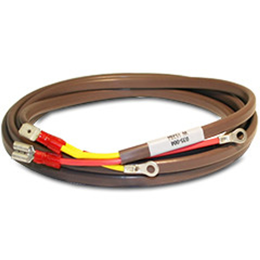"Hewitt Industries Extension Wire, Part #035-006, K-Type 12 ft. ""K"" Type for 2"" and 3"" Pyrometers  Required to provide connection between Thermocouple and your Pyrometer. Hewitt offers this twelve (12) foot long, ""K-Type"" Extension Wire Set.  Two Color-coded #18 gauge wires, a red wire (-) and a yellow wire (+). At one end both wires are High-Temp #6 round terminal lugs. Opposite end, Has spades to match 2"" and 3"" Pyrometers  We have several lengths available, Can also supply a special length, matched to your requirement, Please contact us for quote."